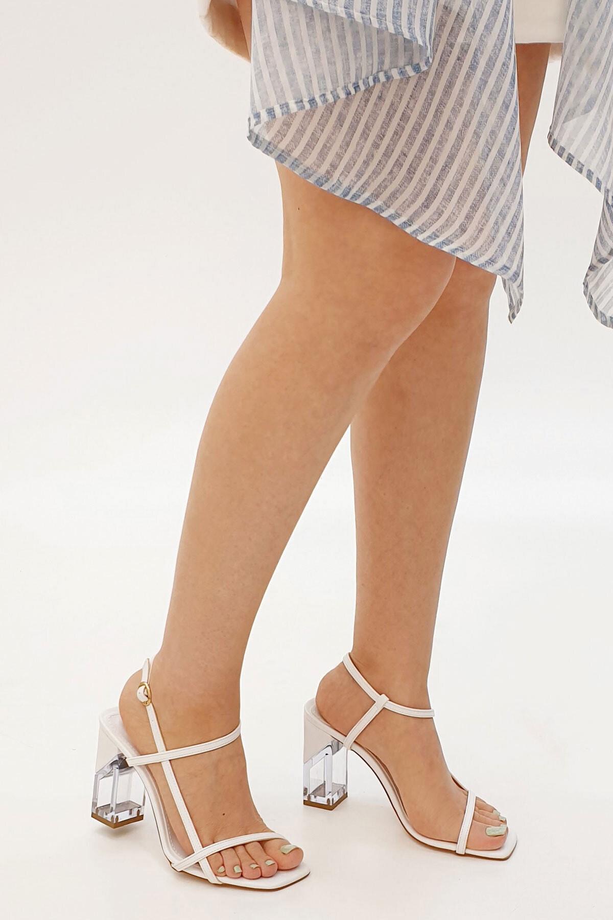 Marjin Beyaz Kadın Runsa Bilekten Bantlı Topuklu Ayakkabı 20Y0016AD816 2