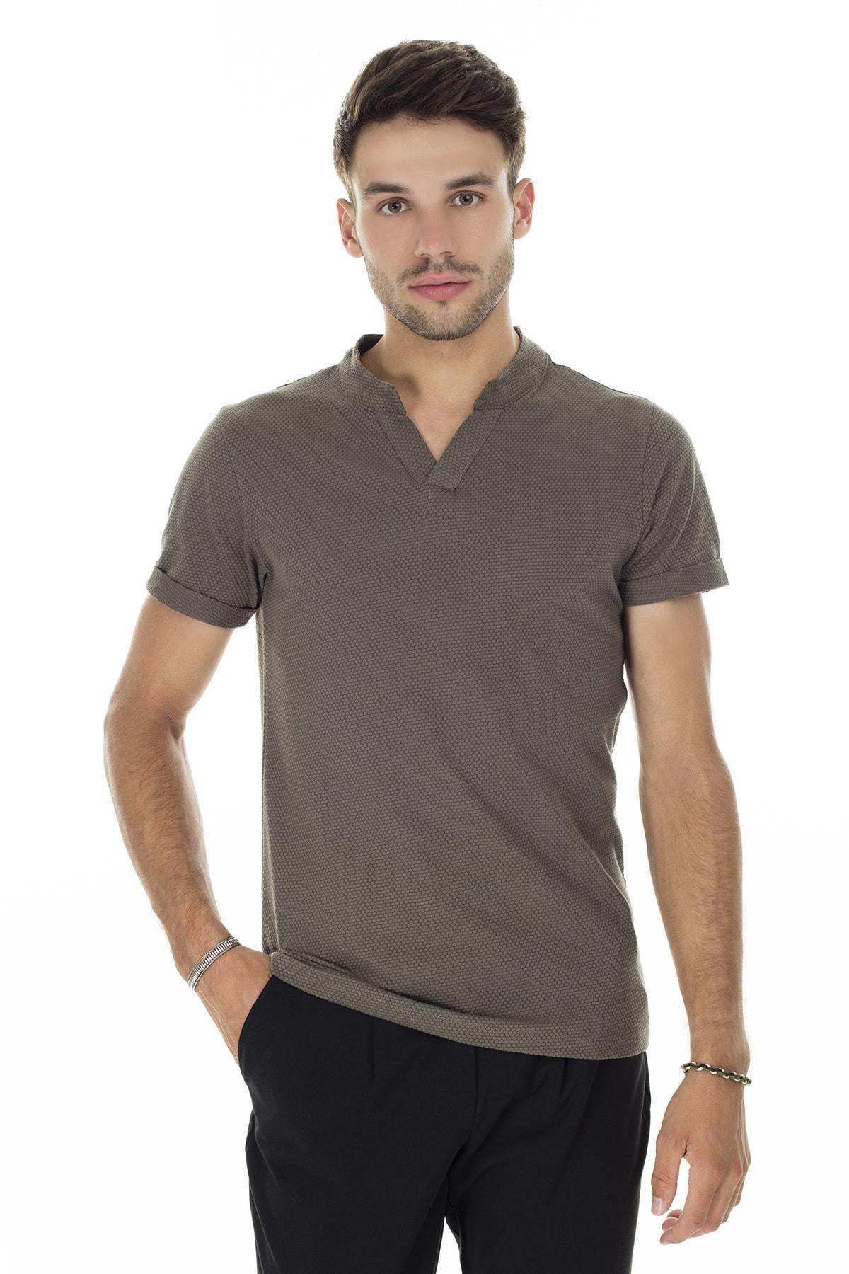 Buratti Erkek HAKİ V Yaka Rahat Kesim Basic T Shirt CF20S214365