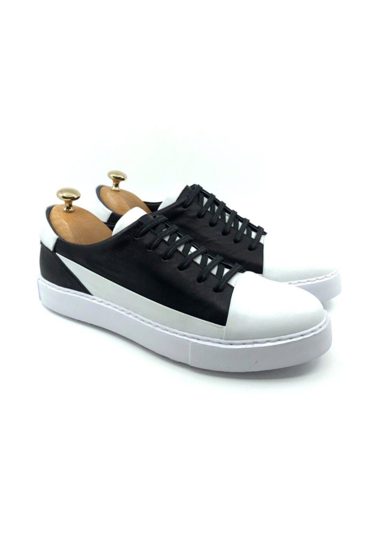 TETRİ Erkek Beyaz Siyah Hakiki Deri Ayakkabı 1