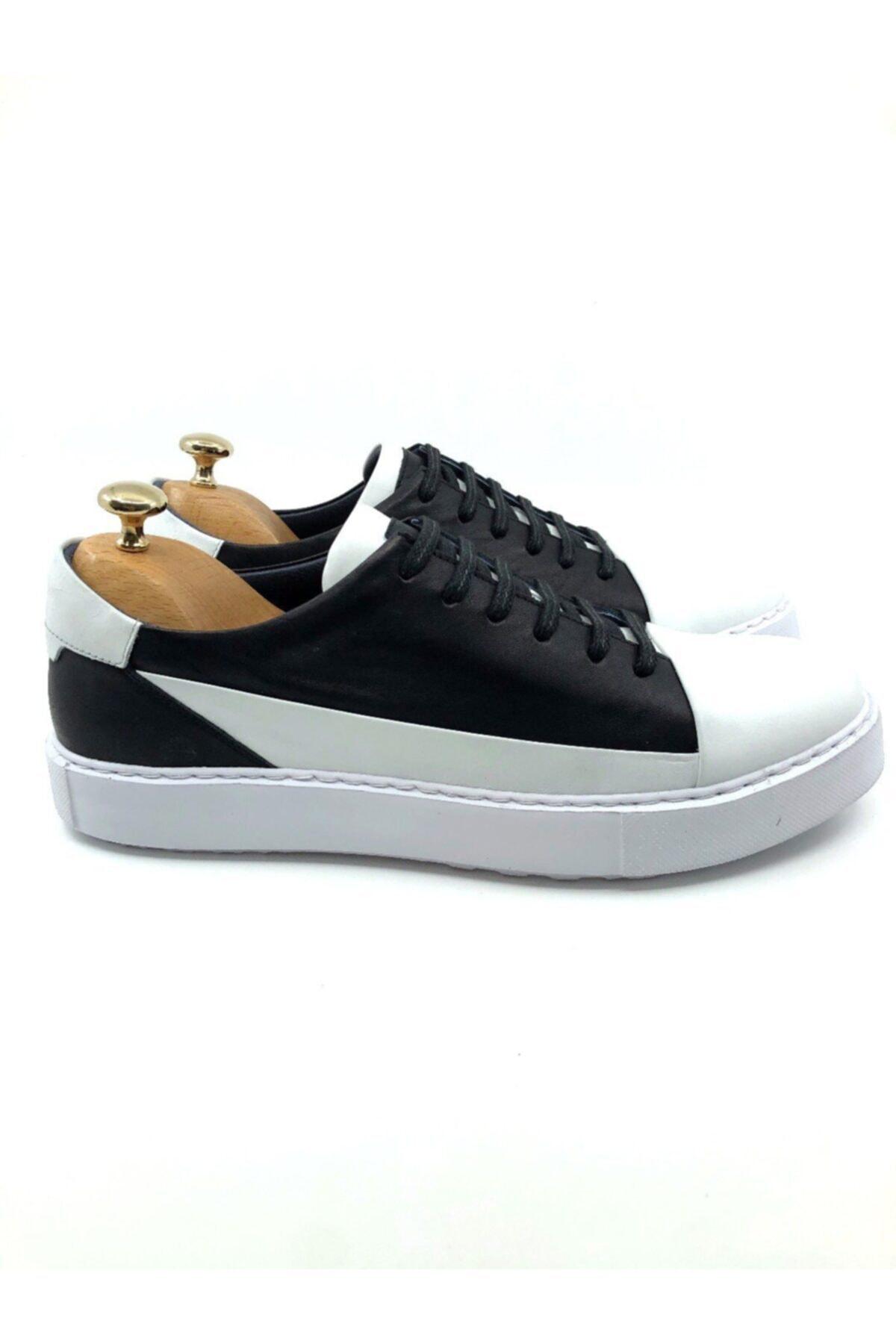 TETRİ Erkek Beyaz Siyah Hakiki Deri Ayakkabı 2