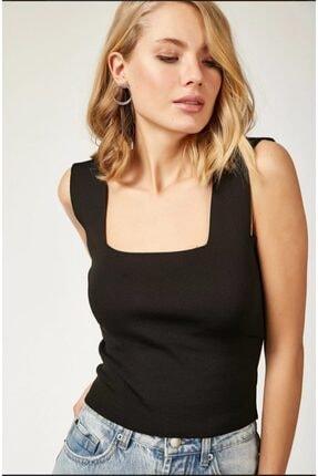 MellowButik Kadın Siyah Kare Yaka Likralı Fit Crop Bluz