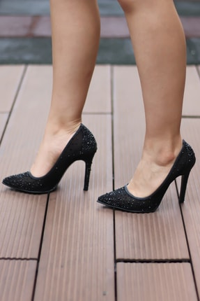 Angelshe Siyah Taşlı Stiletto