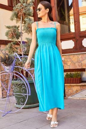 armonika Kadın Turkuaz İp Askılı Üstü Lastikli Kısa Elbise Arm-20Y055005