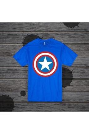 Panda Unisex Mavi Captain America Baskılı T-shirt