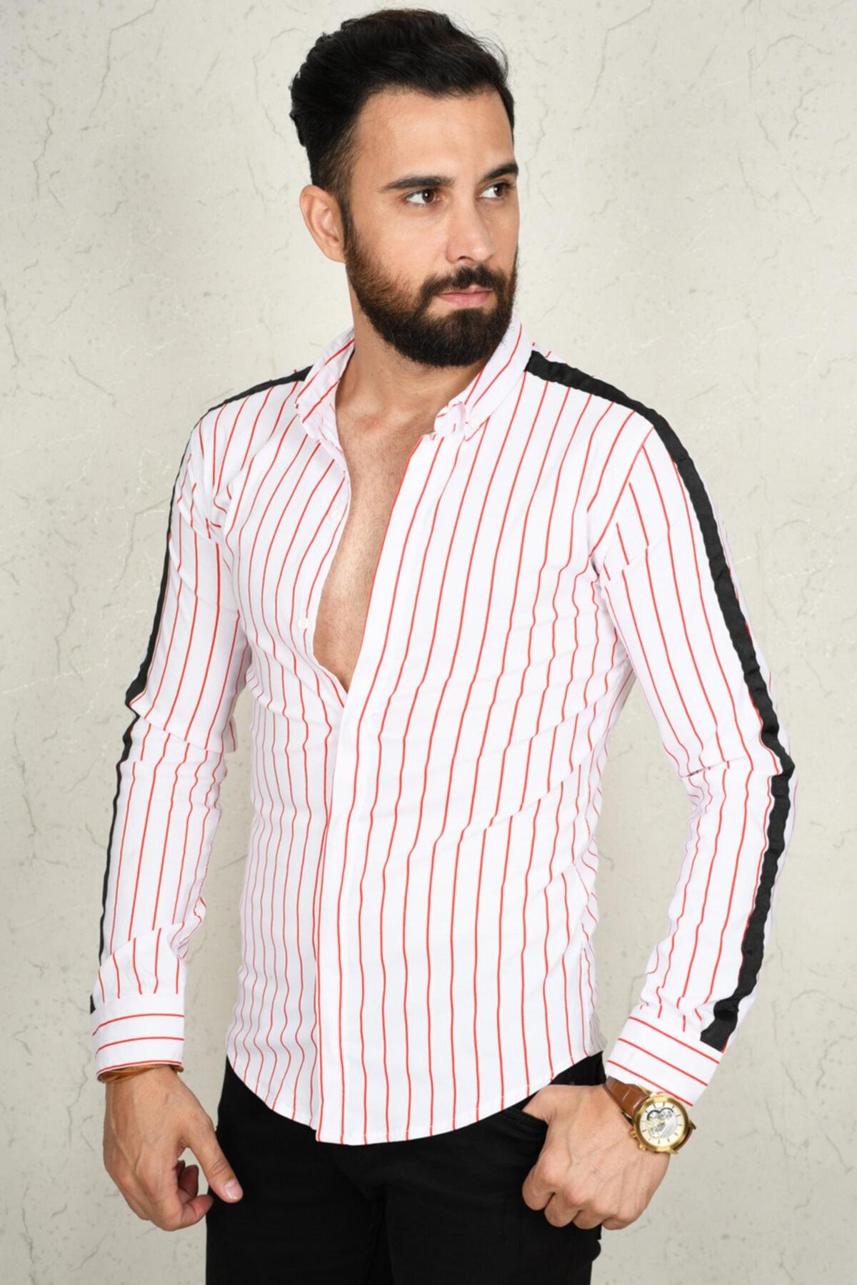 DeepSEA Kırmızı-beyaz Çizgili Kol Şeritli Erkek Gömlek 2002812 2