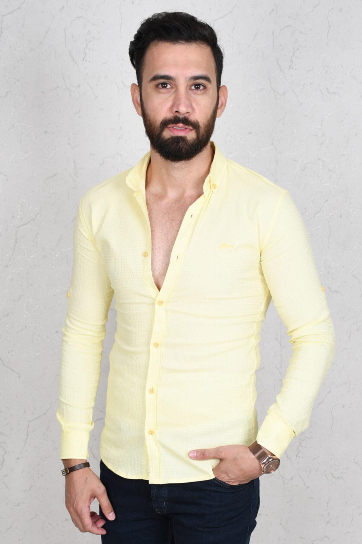 DeepSEA Erkek Sarı Kabartma Kumaş Dar Erkek Gömlek 1