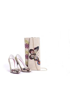 Goby Özel Tasarım- Baskılı- Kelebek Desenli- Topuklu Ayakkabı-çanta Takım