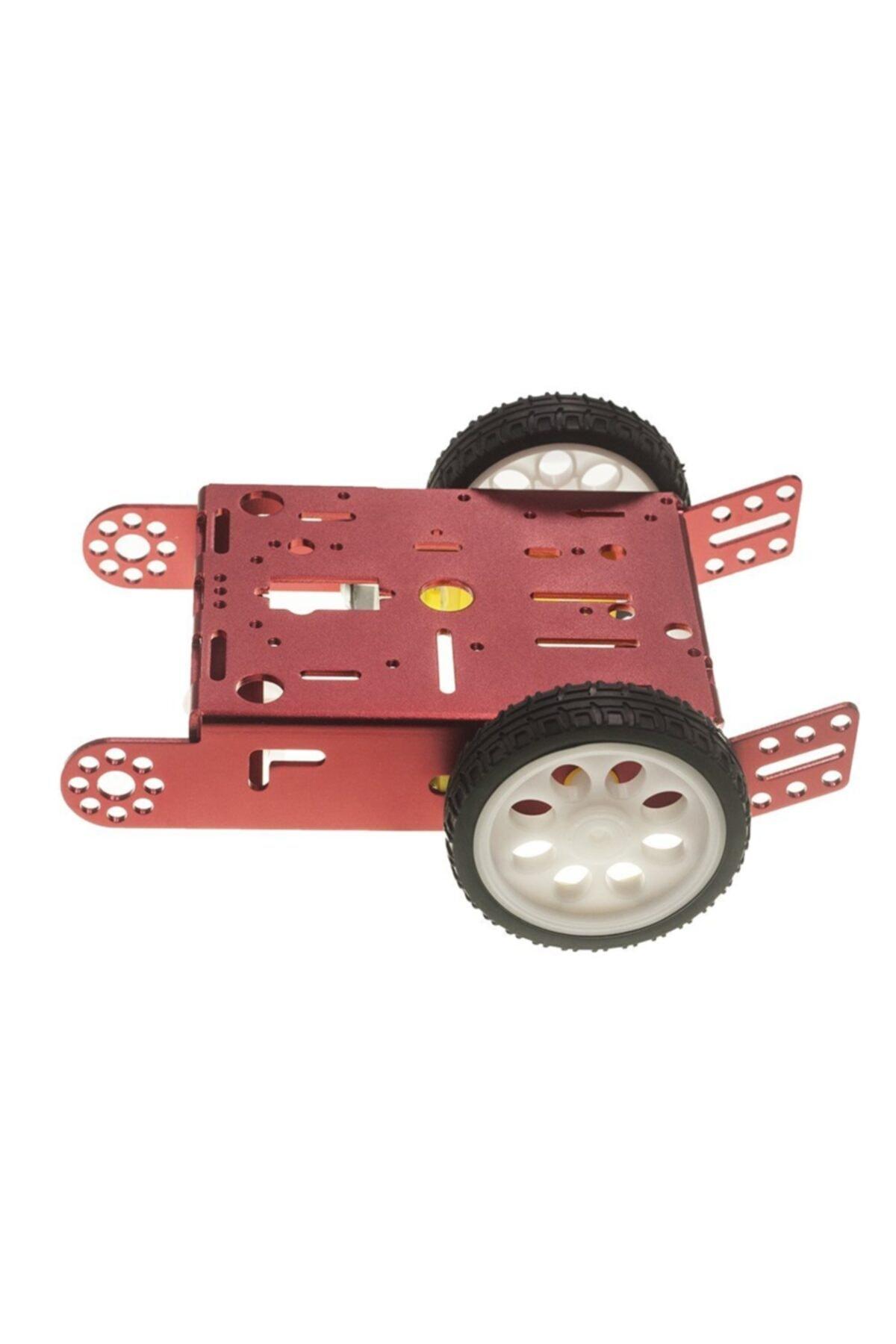 Motorobit 2wd Mbot Alüminyum Araç Kiti - Kırmızı (motor Ve Tekerlek Dahil) 2