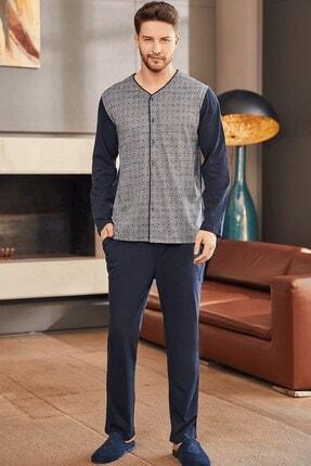 Mecit Pijama Erkek Lacivert Jakarlı Önden Açık Pijama Takımı
