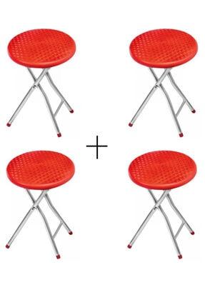 Betgoteks 4 Adet Hasır Desenli Metal Ayaklı Tabure Kırmızı