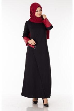 Tp Tesettür Pazarı Deri Detaylı Bordo Tesettür Elbise Efl5595-3