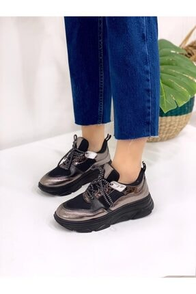 STRASWANS Sofya Bayan Deri Detaylı Spor Ayakkabı Platin Deri-siyah Sim