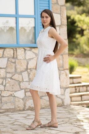 Prego Beyaz Fistolu Elbise
