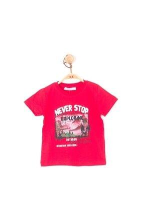 NK Erkek Çocuk Kırmızı Manzara Baskılı Pamuklu T-shirt