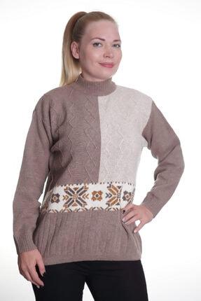 Sude Kadın Kahverengi Triko Kazak 7054