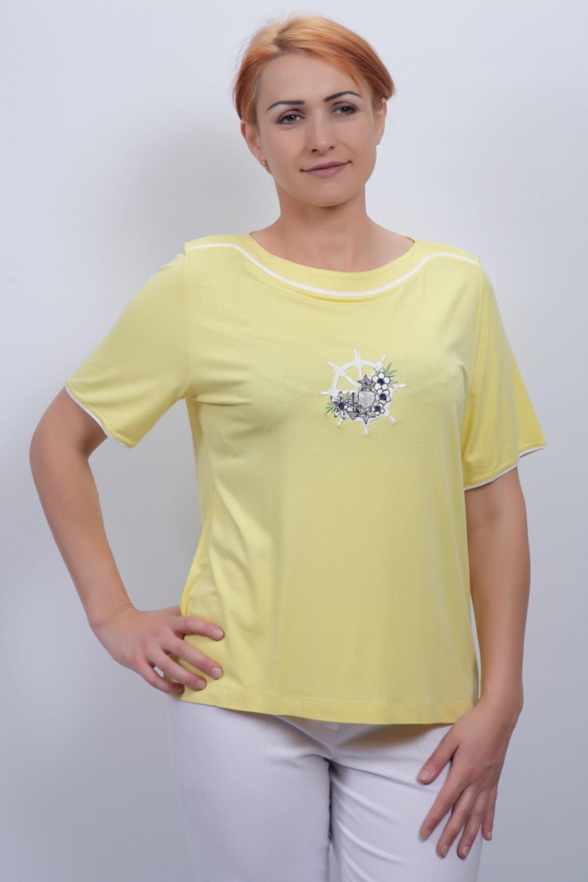Sude Kadın Sarı Kagi Penye Bluz 2105 1