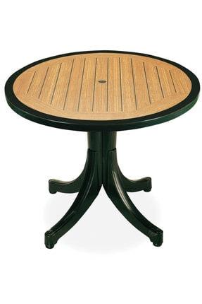 Papatya Pera Masa Plastik Bahçe Masası Yeşil Ahşap Desenli Yuvarlak 90 Cm