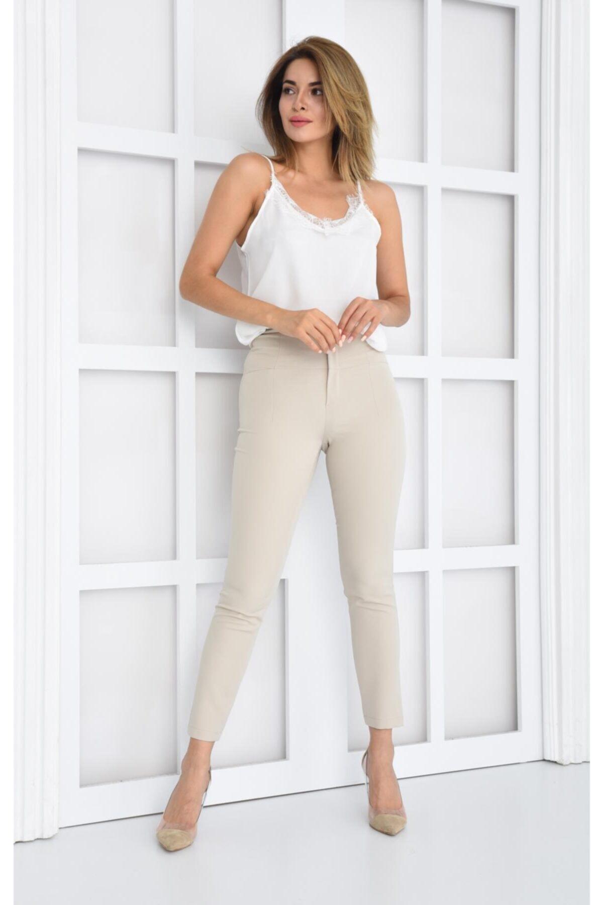 İroni Yüksek Bel Korsajlı Pantolon 1
