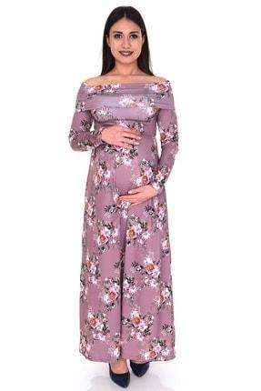 Angel Mom Kadın Mor Açık Omuzlu Hamile Elbisesi