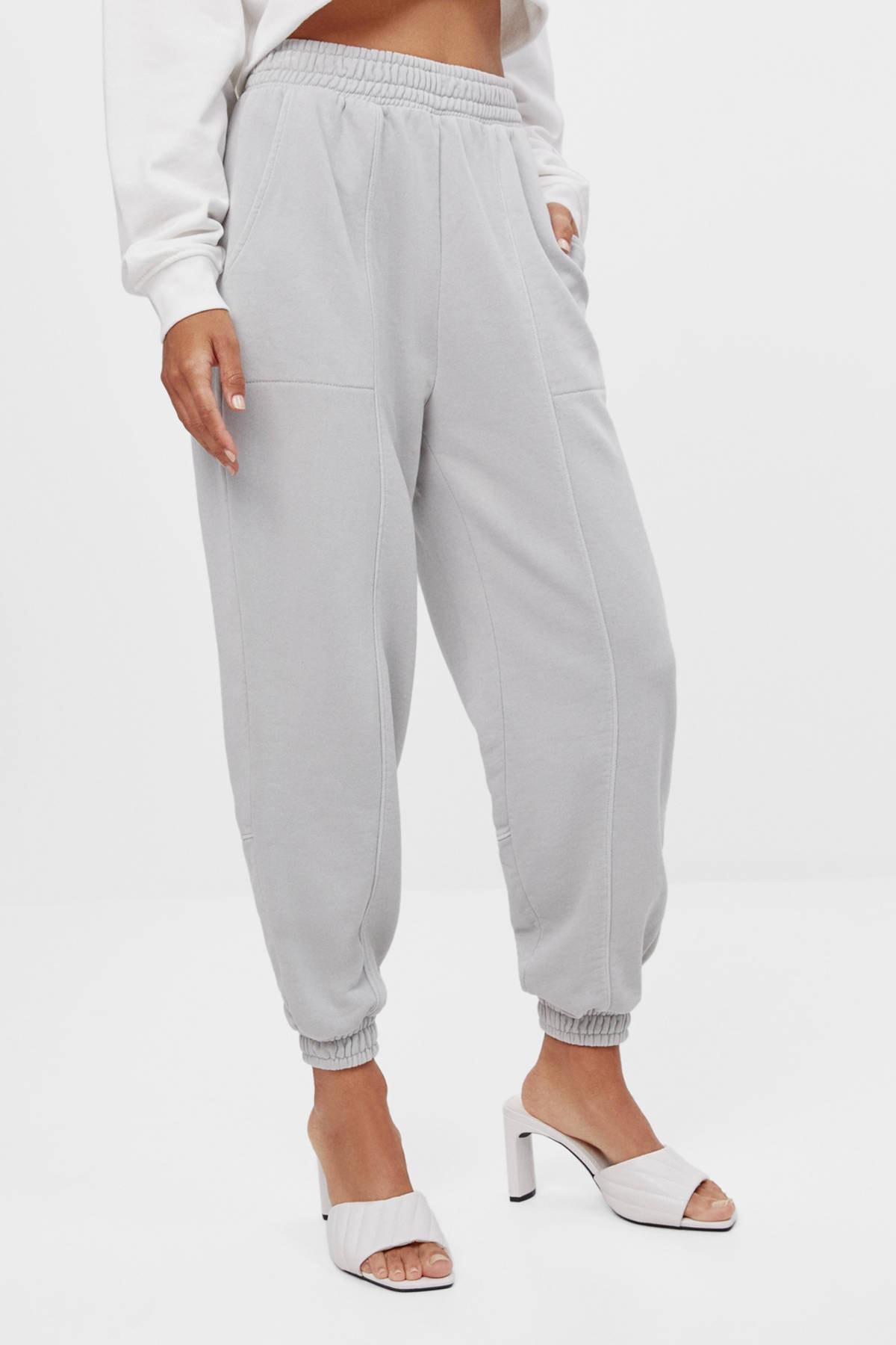 Bershka Kadın Gri Reflektör Jogging Fit Pantolon 1