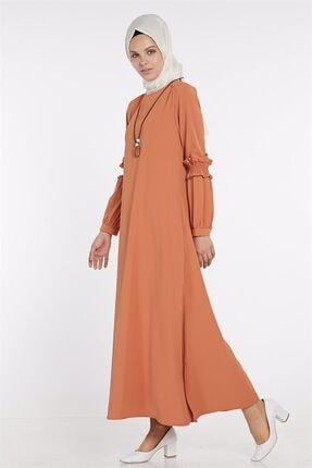 Nihan Kadın Turuncu Büzgü Detaylı Aksesuarlı Elbise X4193