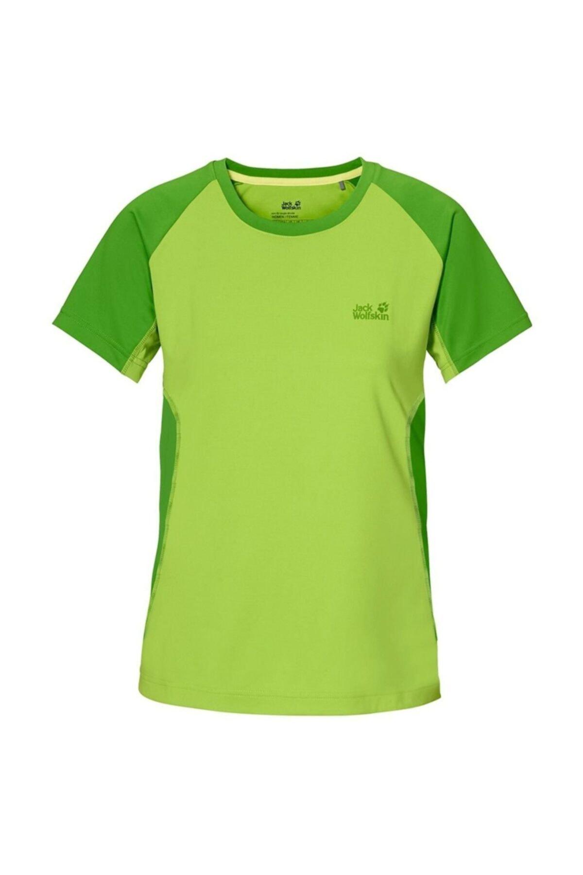 Jack Wolfskin Kadın Yeşil Split Tshirt 1803501-4011 1