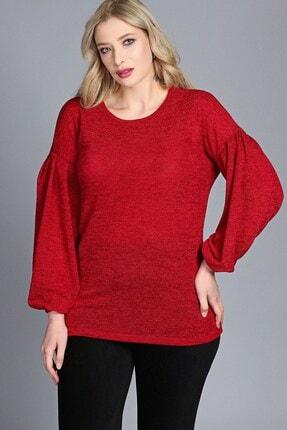 Womenice Kadın Kırmızı Kolu Balon Pileli Bluz