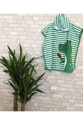 WIND BREAK Erkek Çocuk Yeşil Timsah Desenli Panço Plaj Havlusu