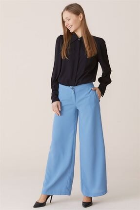 Nihan Kadın Mavi Bol Paça Pantolon  X4504