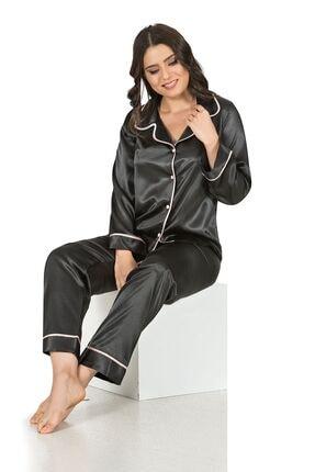 Siyah İnci Saten Düğmeli Biyeli Pijama Takım