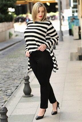 Womenice Kadın Siyah Beli Lastikli Fermuarlı Pantolon
