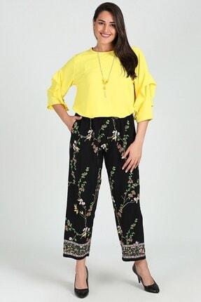 Womenice Kadın Siyah Çiçek Desenli Büyük Beden Pantolon