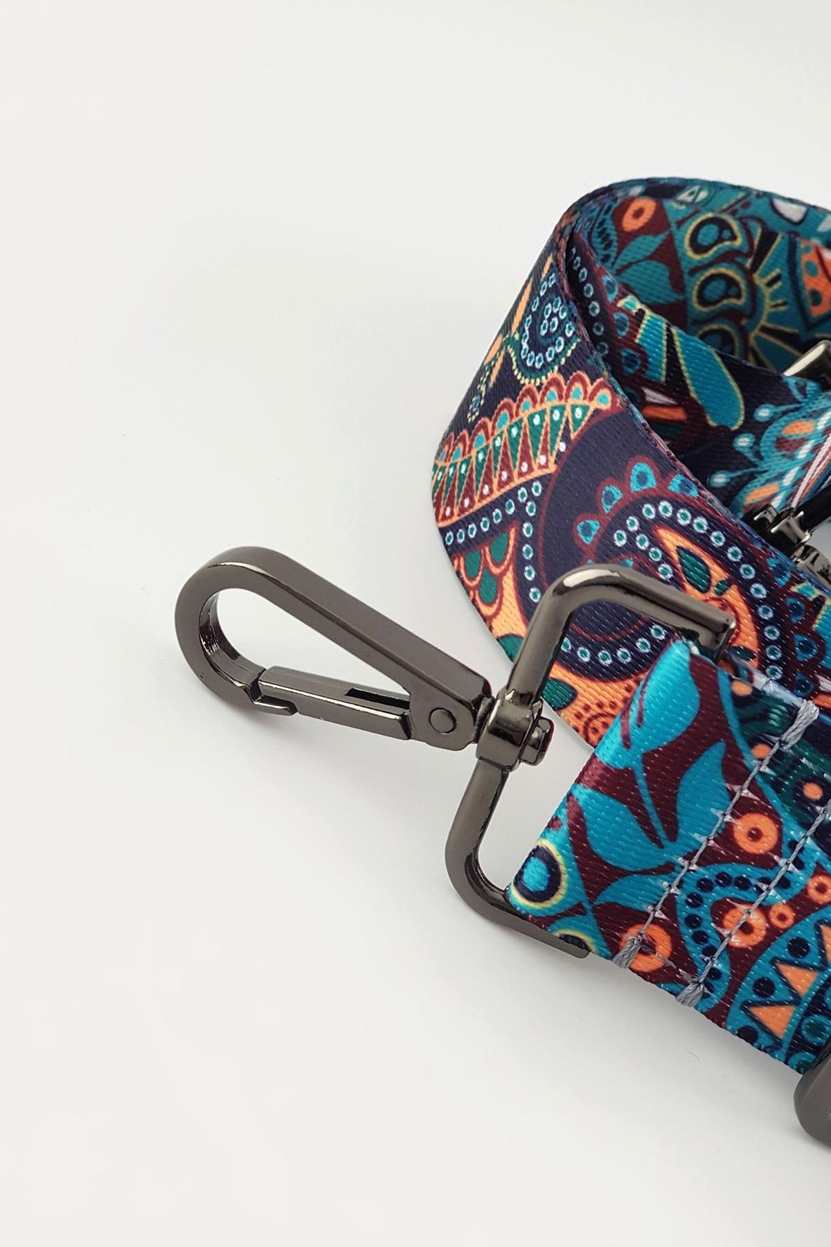 FAEN Medine Şal Desenli Çanta Askısı Black 2