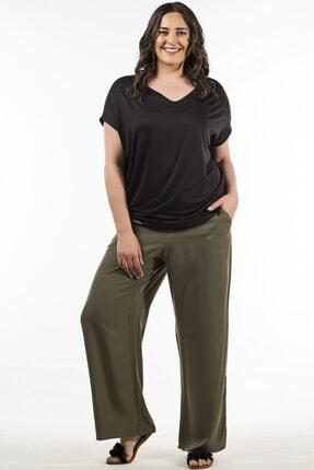 Womenice Kadın Haki Beli Lastikli Pantolon