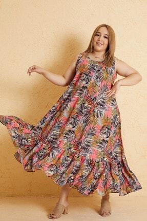 Mio Secret Büyük Beden Kadın Yaprak Desen Kolsuz Etek Ucu Büzgülü Maxi Elbise