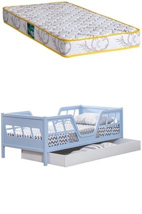 Setay Montessori Yatak, Viva Montessori Karyola , Mavi Full Mdf, Yavrulu Yatak + Comfort Ortopedik Yatak