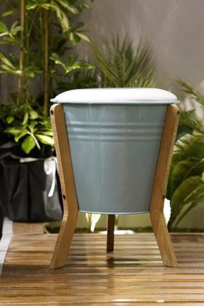 CimriKese Dekoratif Dizayn Ahşap Ayaklı Sandıklı Tabure Puf Sandalye Kova Puf Turkuaz