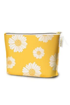 Farmasi Sarı Çiçek Desenli Makyaj Çantası