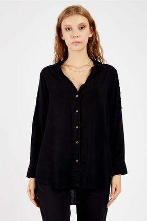 Manche Kadın Siyah Kolu Ekstraforlu Gömlek