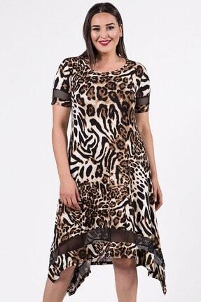 Womenice Kadın Kahverengi Leopar Desenli Büyük Beden Kolu Eteği Tül Şerit Elbise
