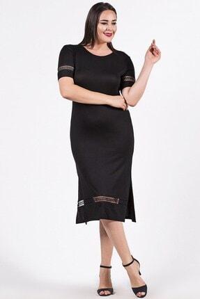 Womenice Kadın Siyah Büyük Beden Kolu Eteği Yırtmaçlı Elbise