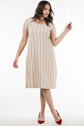 Womenice Kadın Vizon Kısa Kol Çizgili Büyük Beden Elbise