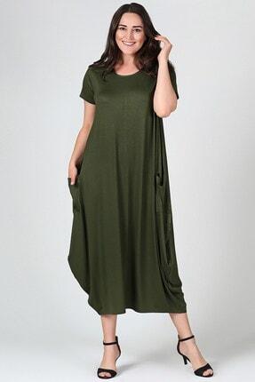 Womenice Kadın Haki Büyük Beden Elbise