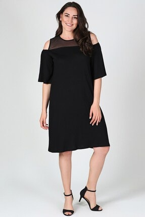 Womenice Kadın Büyük Beden Siyah Göğüs Tül Kol Dekolteli Elbise
