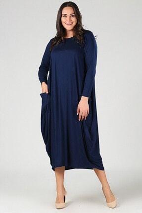 Womenice Kadın Lacivert Büyük Beden  Elbise