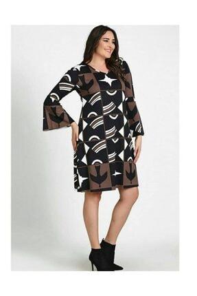 Womenice Kadın Büyük Beden Siyah Uzun Kol Desenli Elbise