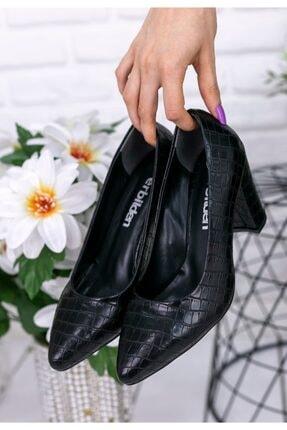 Erbilden Kadın Siyah Aspen Cilt Desenli Topuklu Ayakkabı