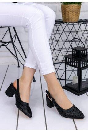Erbilden Kadın Siyah Cilt Zendi Fileli Topuklu Ayakkabı