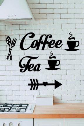 Hediye Kumsalı Siyah Şık Coffe Tea Ahşap Mutfak Duvar Aksesuarı