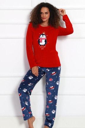 VİENETTA Kadın Kırmızı Kadıfe O Yaka Uzun Kol Pijama Takımı